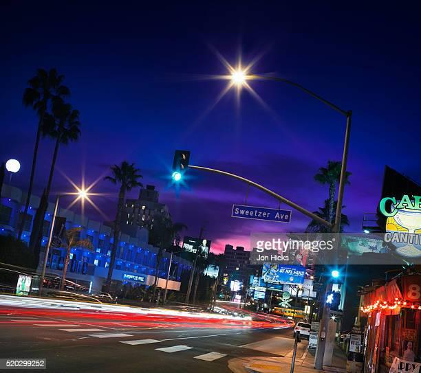 Sunset Boulevard at dusk.