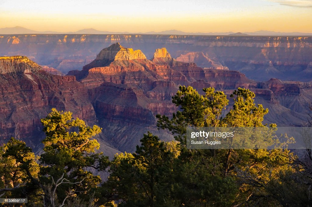 Sunset Bright Angel Trail Grand Canyon National Park North