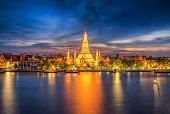 sunset city skyline at Wat Arun temple and Chao Phraya River, Bangkok. Thailand,