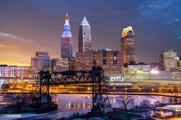 sunset, cleveland, ohio, america - cleveland ohio stock pictures, royalty-free photos & images