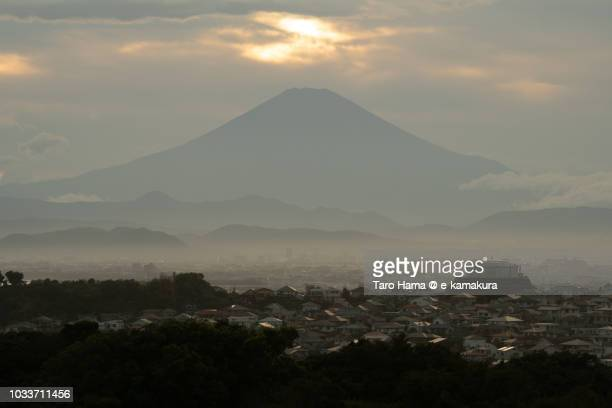 Sunset clouds on Mt. Fuji, and Kamakura, Fujisawa, Chigasaki and Hiratsuka cities in Kanagawa prefecture in Japan