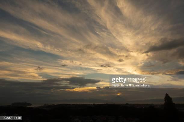 Sunset clouds on Mt. Fuji, Sagami Bay, and Kamakura, Fujisawa, Chigasaki and Hiratsuka cities in Kanagawa prefecture in Japan