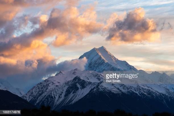 sunset clouds over mt. cook - don smith stock photos and pictures