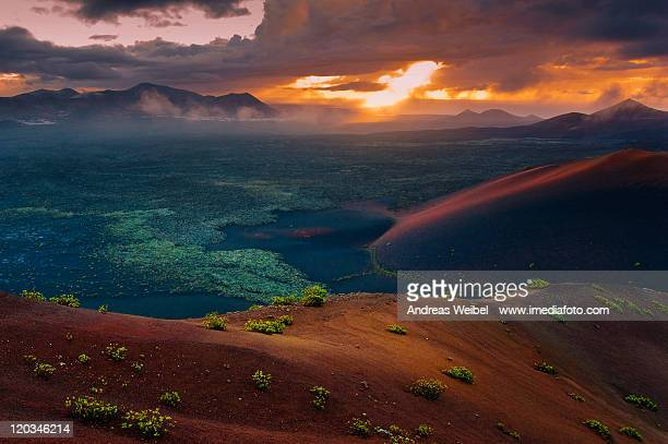 sunset colors in lanzarote - timanfaya national park stock pictures, royalty-free photos & images