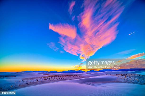 Sunset colors over White Sands National Monument, New Mexico.