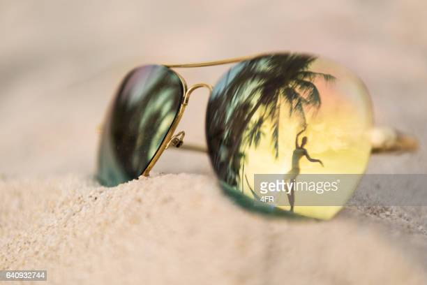 Sunset Dancing, Palm Tree Sunglasses Reflection, Thailand