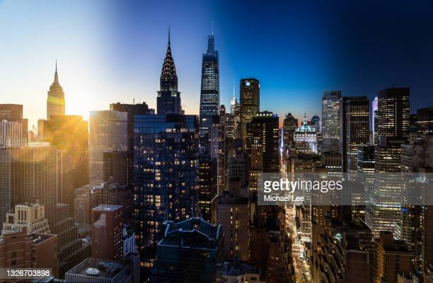 sunset day to night composite view of midtown manhattan - new york - manhattan new york city stock pictures, royalty-free photos & images