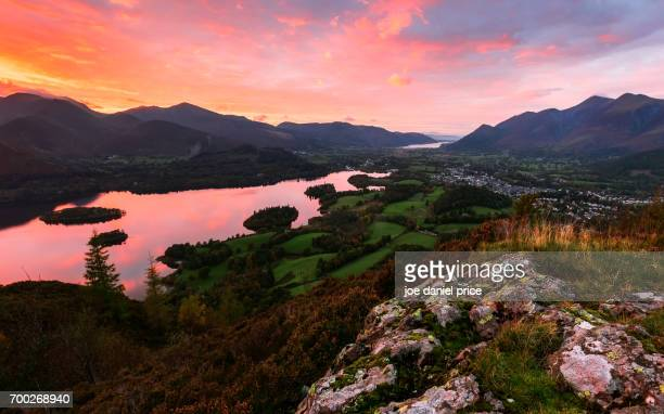 Sunset, Derwent Water, Walla Crag, Keswick, Lake District, Cumbria, England