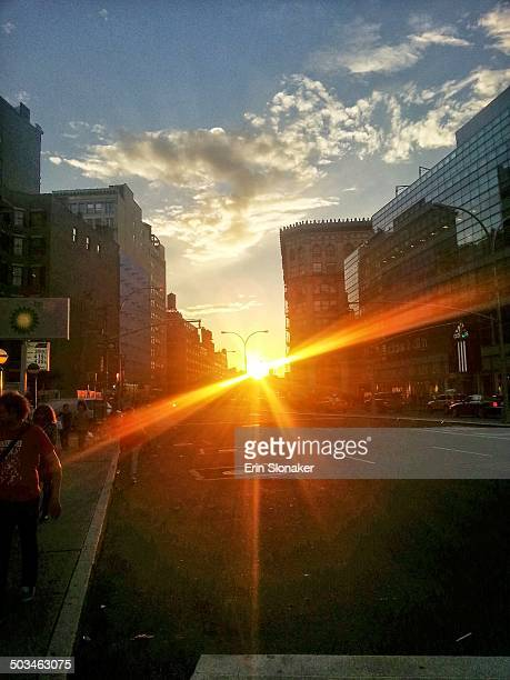 Sunset down Houston Street NYC