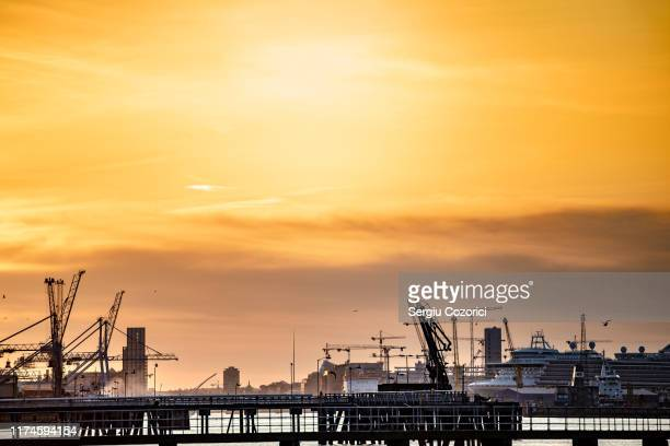 sunset dublin port - golden hour stock pictures, royalty-free photos & images