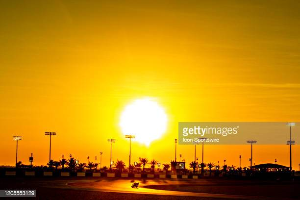 Sunset during Moto3 class Fridays free practice session of QNB Qatar Motorcycle Grand Prix held on March 06 at Local International Circuit in Doha,...