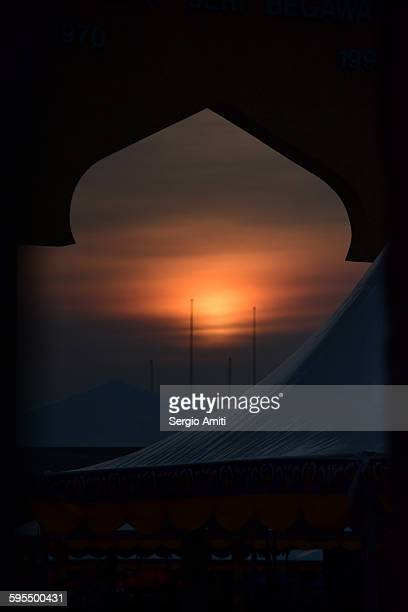 Sunset framed in an onion dome-shaped frame