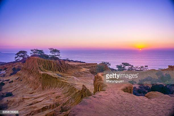 Sunset from Broken Hill Overlook at Torrey Pines State Reserve, San Diego, California, America, USA