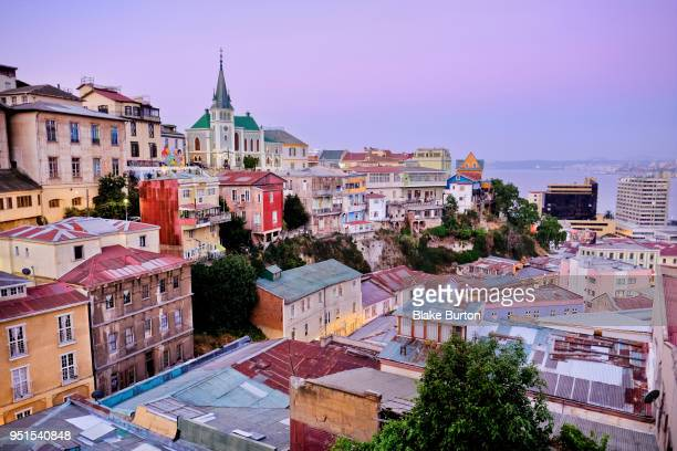sunset from cerro alegre in city of valparaiso, chile - valparaiso chile stock pictures, royalty-free photos & images