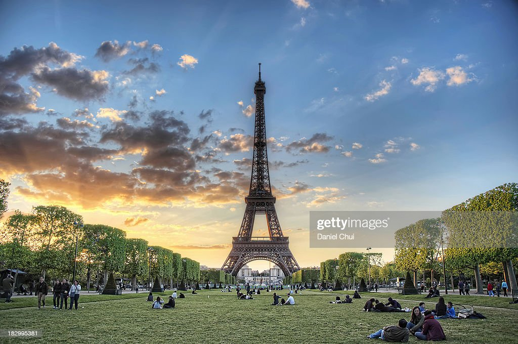 Sunset from Champ de Mars in Paris : Stock Photo