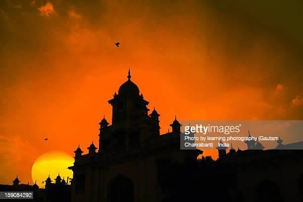 sunset from chowmahalla palace - hyderabad, india. - ハイデラバード ストックフォトと画像