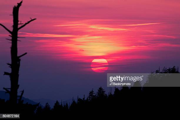 sunset from clingman's dome - clingman's dome - fotografias e filmes do acervo