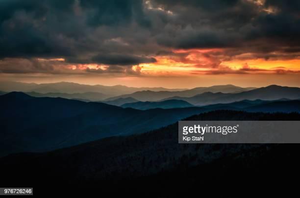 sunset from clingman's dome - clingman's dome fotografías e imágenes de stock
