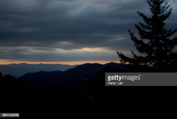 sunset from clingman's dome - clingman's dome stock photos and pictures