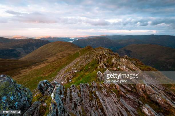 sunset from helvellyn, cumbria, lake district, england - hill stock pictures, royalty-free photos & images