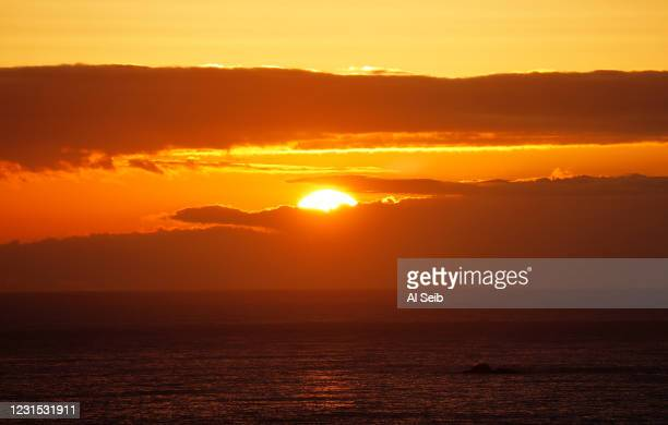 Sunset from Pismo Beach in the southern portion of San Luis Obispo County on the California Central Coast as San Luis Obispo county moved into the...