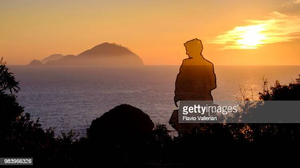 sunset from pollara, salina (aeolian islands, sicily, italy) - aeolian islands stock pictures, royalty-free photos & images