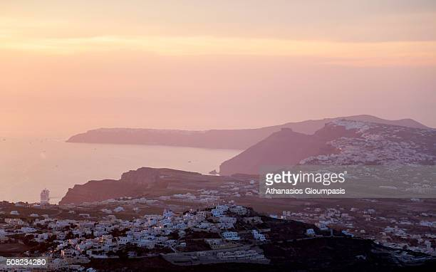 Sunset from Profitis Ilias the highest spot of the Santorini island on June 30 2015 in Santorini GreeceThe highest spot 567 meters located between...