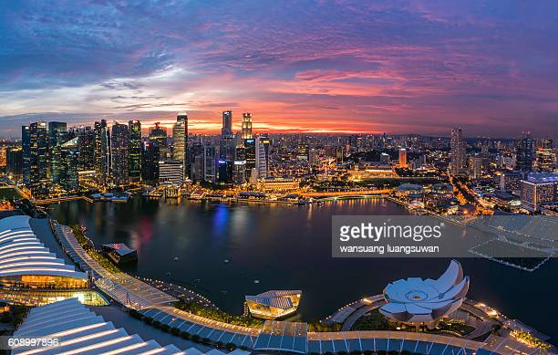 sunset from the marina bay sands singapore - marina square stock photos and pictures