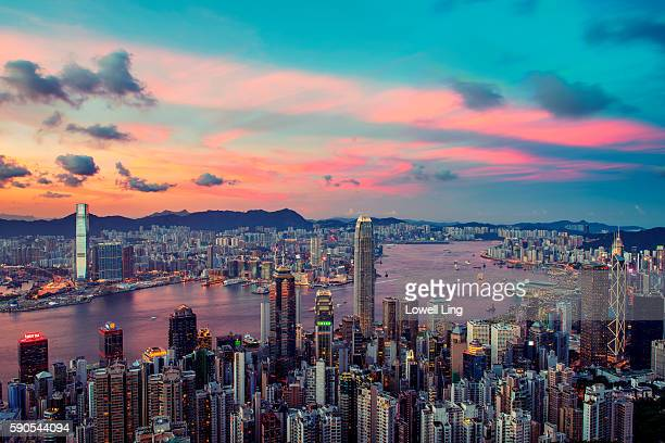 sunset from the peak, hong kong - tsim sha tsui stock pictures, royalty-free photos & images