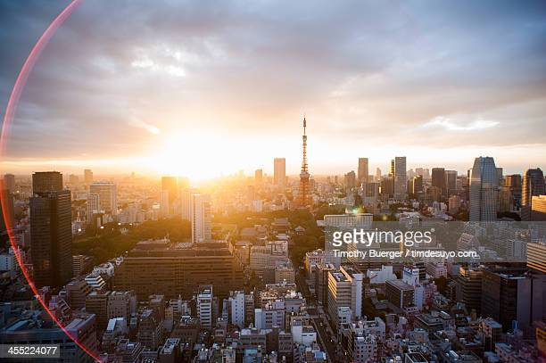 sunset from the wtc - roppongi hills stock pictures, royalty-free photos & images