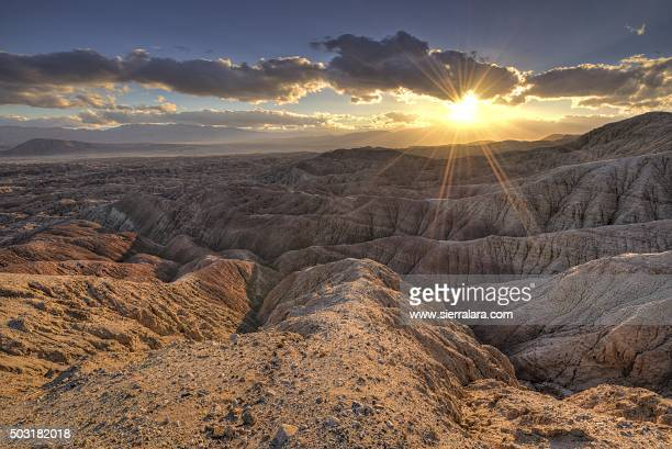sunset from vista del malpais - anza borrego desert state park stock pictures, royalty-free photos & images