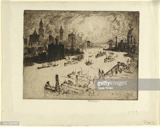 Sunset from Williamsburg Bridge, Joseph Pennell, American, active England, 1857–1926, Etching in black ink on laid paper, The New York skyline is...