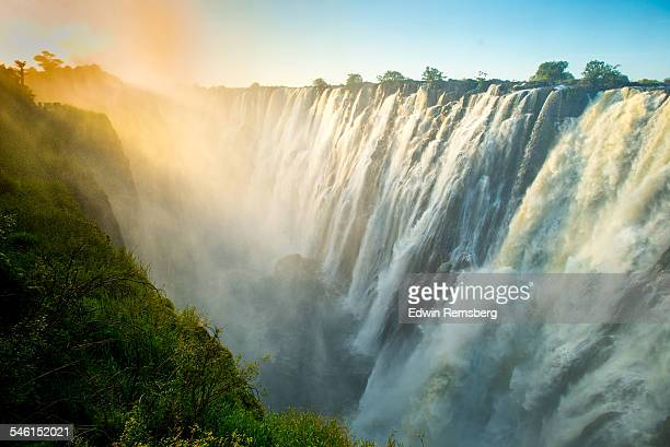 Sunset haze over Victoria Falls