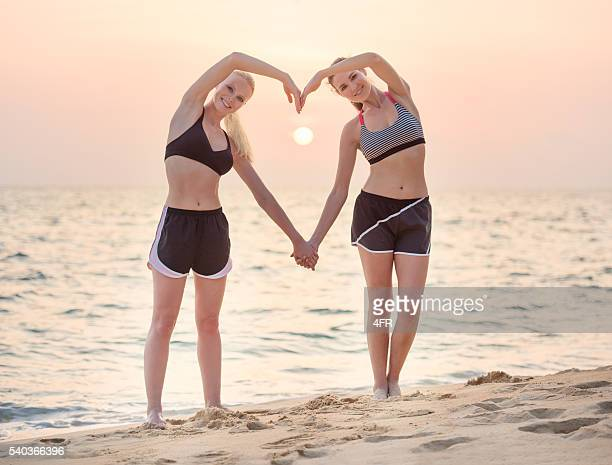 Sunset Heart, Female Friends in Sport Outfits