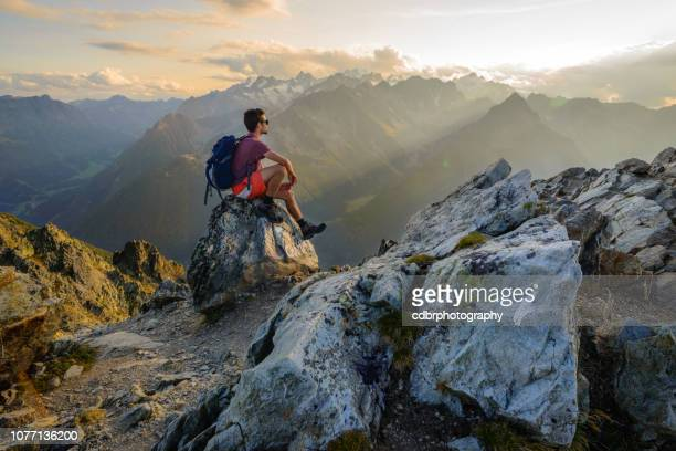 sunset hiking scenery in the mountains - monte bianco foto e immagini stock