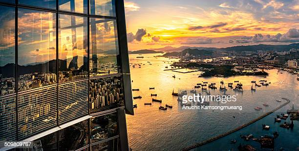 Sunset Hong kong view on sky100.