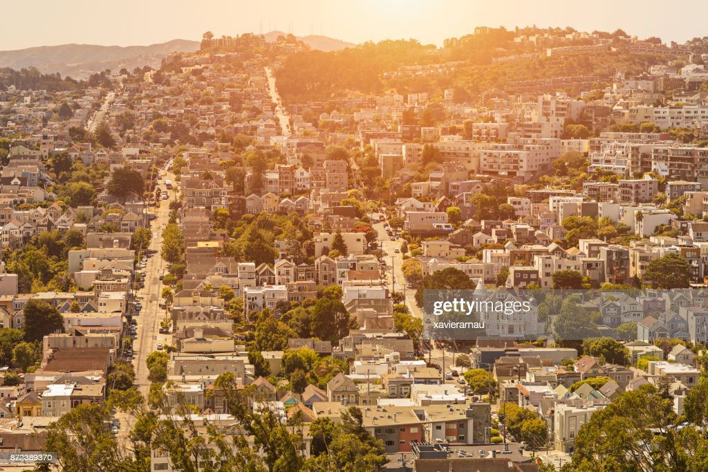 Sunset in a residential District in San Francisco, California : Stock Photo