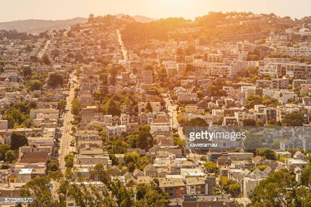 Sunset in a residential District in San Francisco, California