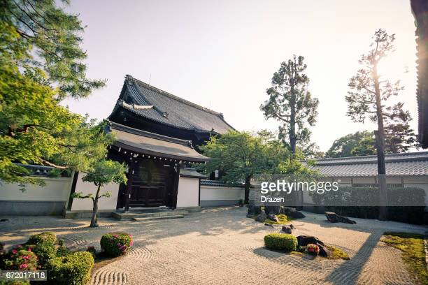 sunset in amazing buddhist chion-ji shrine in kyoto, - shrine stock pictures, royalty-free photos & images