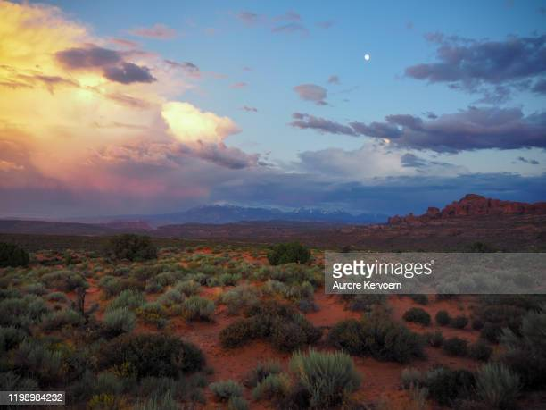 sunset in arches national park - canyon foto e immagini stock