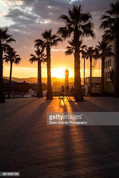 Sunset in Barcelona, Spain