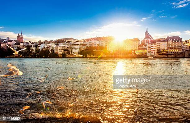 sunset in basel - basel switzerland stock pictures, royalty-free photos & images
