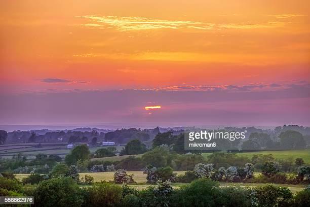 Sunset in beautiful  Irish landscape scenery.