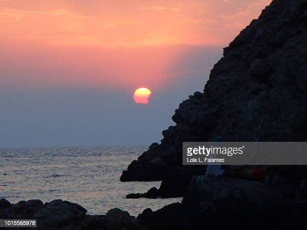 Sunset in cala Benirras, Ibiza Island, Spain