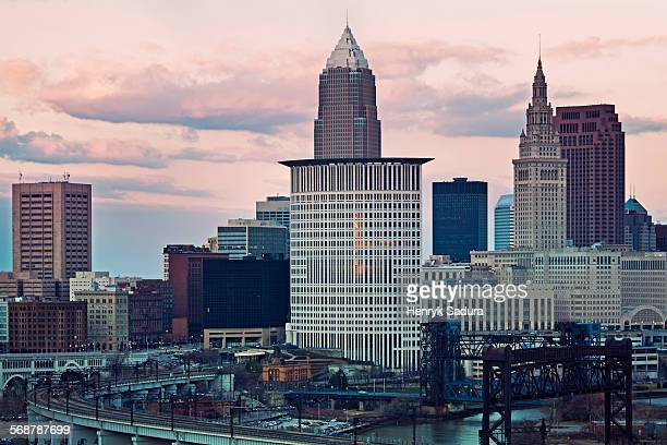sunset in cleveland - cleveland ohio stock photos and pictures