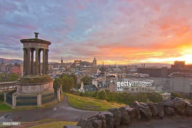 Sunset in Edinburgh from Calton Hill