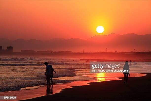Sunset in Enosima beach