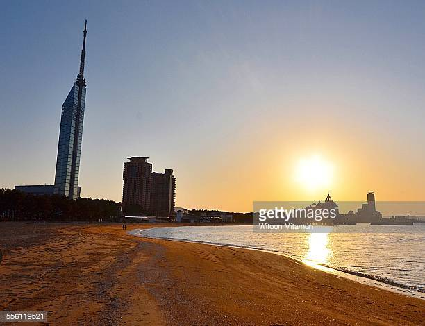 sunset in fukuoka, japan - fukuoka prefecture stock pictures, royalty-free photos & images