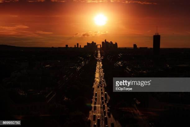 Sunset in Grande Arche de la Defense, Paris, France