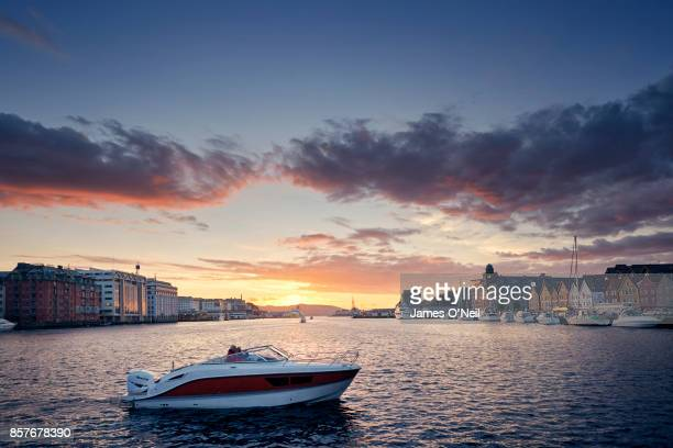 Sunset in harbor, Bergen, Norway